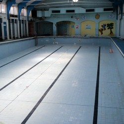 Empty pool at Dulwich Leisure Centre prior to refurbishment work starting