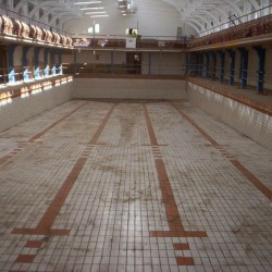 Empty Camberwell pool before start of refurbishment works